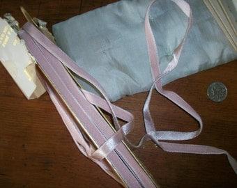 "1 yd. of French Vintage rayon 3/8"" satin back velvet  pink mist"
