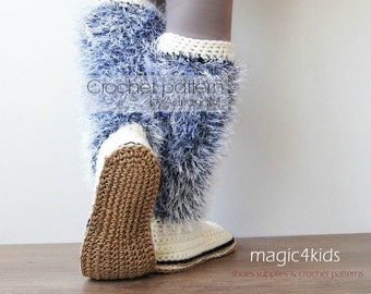 Crochet pattern - women boots with rope soles,soles pattern included,women sizes,cord soles,fuzzy,eyelash,adult boots,girl,shoemaking