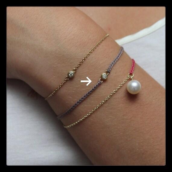 Lara Friendship Bracelet, 14K Gold and Diamond 0,03ct on a silky string