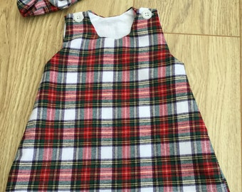 Brushed cotton tartan pinafore dress lined baby toddler girl Christmas dress