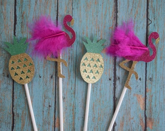 Glittery Hot Pink Flamingo and Gold Pineapple Cupcake Toppers