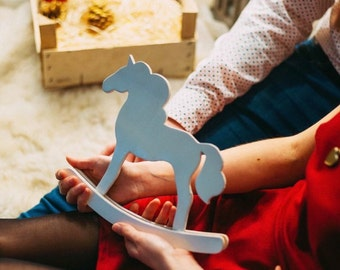 Wooden Horse Unicorn Toy Decor Baby Room Nursery Decor White Color Eco Friendly Organic