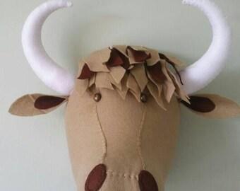 HAMISH HIGHLAND COW - Faux Taxidermy Felt Wall Mounted Animal Head