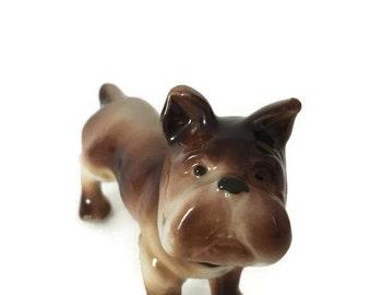 """Vintage Porcelain Boxer Dog Made In Occupied Japan  1940's Figurine 4"""" x 3"""", Occupied Japan Boxer Dog Figurine, Vintage Boxer Dog"""