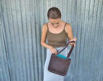 Handmade leather shoulder bag, hand bag, dark brown, red leather