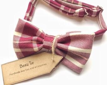 Plaid bow tie, tartan bow tie, burgundy tartan, mens bow tie, bow tie, mens wool bow tie tie,