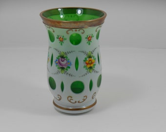 Cased & Pierced Bohemian Painted Floral Milk Glass and Emerald Green Glass Vase, Vintage Mid Century Czech Glass Vase