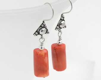 Coral Earrings, Salmon Pink Coral Earrings, Natural Coral Bead Earrings, Coral and Silver Earrings, Orange Coral Dangle Earrings