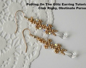 Tutorial: Putting On The Glitz Earrings - Bead Weaving Tutorial, Personal Or Commercial Use (Stashbuster Series)
