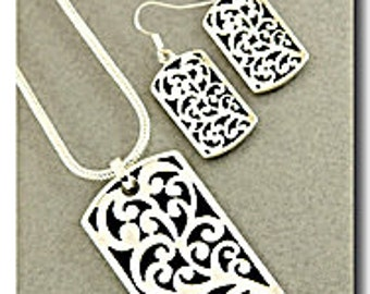 Rhodium Scroll Pendant Set