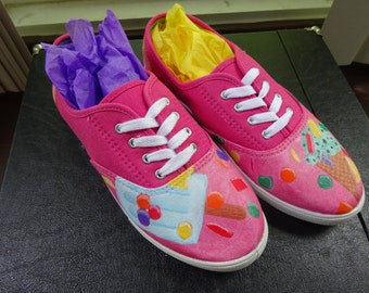 Hand-Painted Ked-Style Shoes: Sweet Tooth (Women's Size 8)