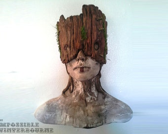 Tribal Forest Dweller sculpture, female bust, mask art, fairytale art, primitive art, Native girl, (Stone and Wood with moss detail)