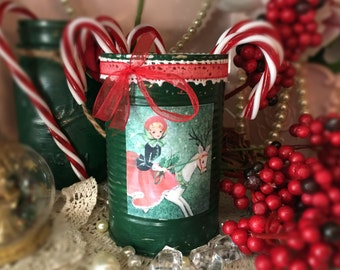 Shabby Chic Christmas Vase Table Decor Centerpiece Forest Green Painted Tin Can Vintage Retro White Lace Red Ribbon Victorian Lady Reindeer