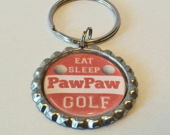 Orange and White Eat Sleep Golf PawPaw Grandfather Father's Day Metal Flattened Bottlecap Keychain Great Gift