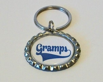 Fun Blue and White Gramps Grandfather Metal Flattened Bottlecap Keychain Great Gift