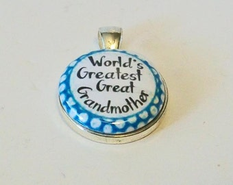 Turquoise and White Polka Dot World's Greatest Great Grandmother Round Silver Pendant
