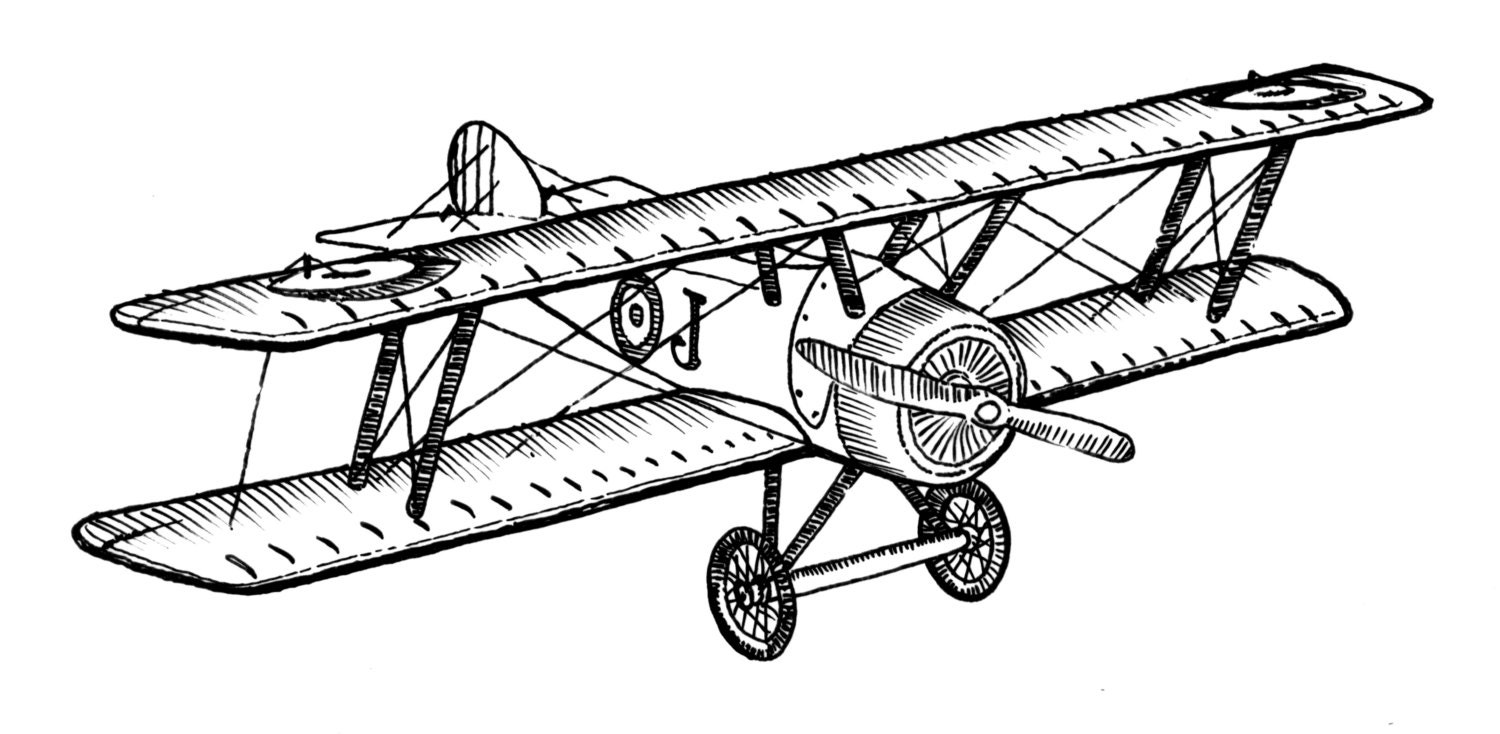 Biplane Style Vintage Airplane Ink Drawing Clipart Ready For Printing And Crafting Perfect For