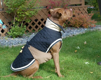 Dog coat MASSAI in black/chestnut and warm quilted cotton material