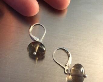 Smokey Quartz Nugget Earrings