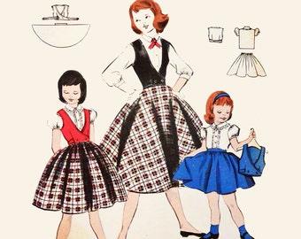 Girls Size 6 Dress Pattern Vintage Skirt Blouse Weskit Pattern Butterick 7413 Girls Size 6 Vintage Sewing Patterns Girls 50s Dress Patterns