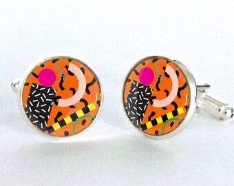 Memphis Pattern Cufflinks -Modernist Design Silver Plated Cufflinks - Sotsass gift for him - Fathers Day Gift