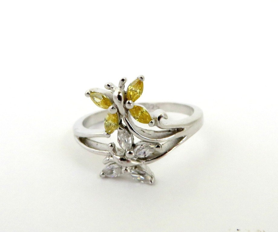 vintage sterling silver butterfly ring yellow white cz