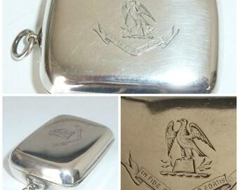 Victorian Silver Box Fob Eagle Heraldic Family Crest Monogram Latin Motto c1896