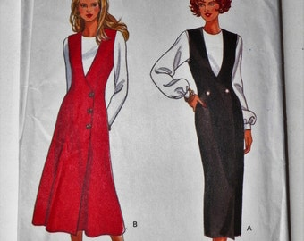 "Misses Sewing Pattern Straight Or Flared Jumper With Princess Seams UNCUT Sizes 6-8-10-12 ""EASY"" Butterick 6898 Misses Vintage Pattern"
