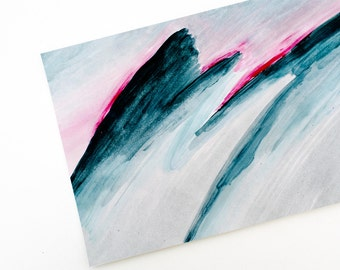 Art print painted mountains, bright pink sunrise, grey blue landscape giclee print from original painting on bamboo fine art paper, archival