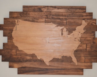 Wooden United States Map