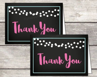 baby shower thank you card printable, girl baby shower chalkboard thank you card, digital file to print at home