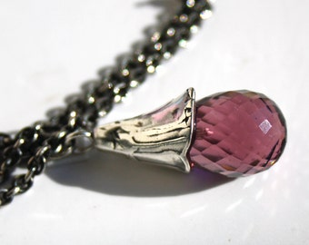 925 Silver Fantasy-Necklace with fac. pink Tourmaline Quartz