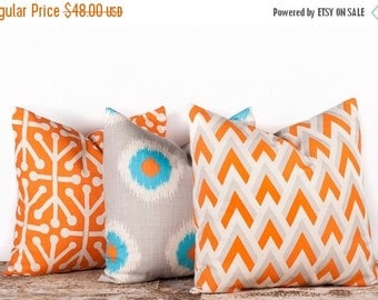 """SALE ENDS SOON Three Patterned Pillow Case Covers, Decorative Pillow Cases, Geometric Home Decor, 16 x 16"""""""