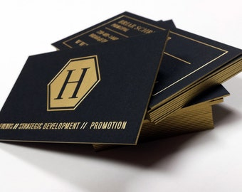 Black Business Cards 100 700gsm Foil on double sided