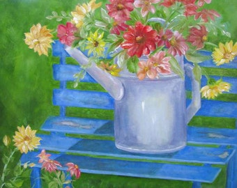 Blue Bench with Watering Can Print