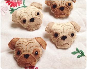 Pug Terrier Puppy Dog Felt Brooch