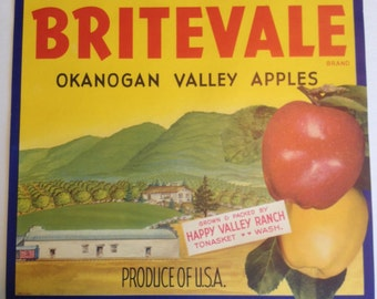 Vintage 1930-1950 Britevale Apple Crate Label – Tonasket, Washington