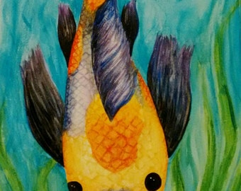 Colorful Koi Watercolor Painting