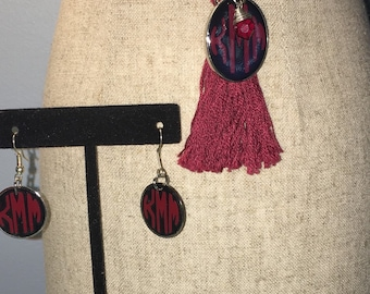 Monogrammed South Carolina College color earrings, necklace, or both necklace earring set
