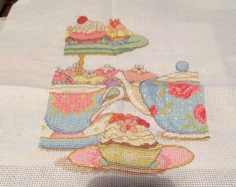 Completed cross stitch afternoon tea cup cake