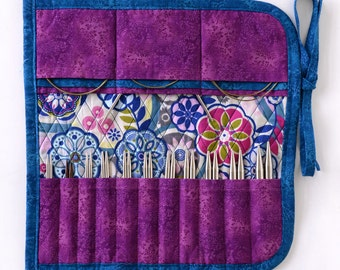 Interchangeable Knitting Needle Case 2016 edition - teal and purple