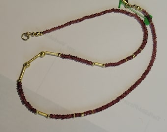 Garnet Necklace, Garnet Rhodolite Necklace -brown red  JK7578