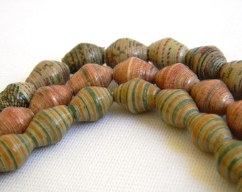 Paper Bead Jewelry Supplies - Paper Beads - Hand painted - Lot of 30 - #1435