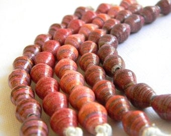 Hand Painted Fair Trade Paper Bead Jewelry Supplies - Paper Beads - Lot of 50 - #B331