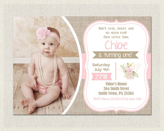 First Birthday Invitation girls 1st birthday invite Shabby Chic