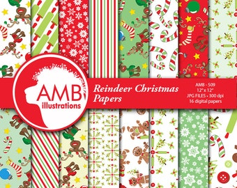 Christmas Digital Paper, Reindeer Christmas paper, Christmas images, Rudolph, Gingerbread men and Candy canes, commercial use, AMB-509
