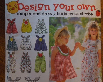 Simplicity 9008, toddlers, 1/2, 1, 2, romper in two lengths, dress, UNCUT sewing pattern, craft supplies