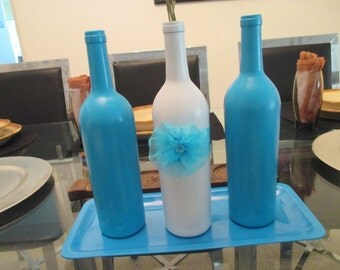 Set of 3 wine bottles center piece for any special ocation