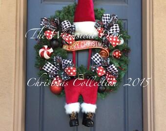 Christmas Wreath  Santa Wreath Holiday Wreath