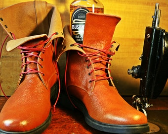 Designer handmade brown Scotch-Grain Leather Boots